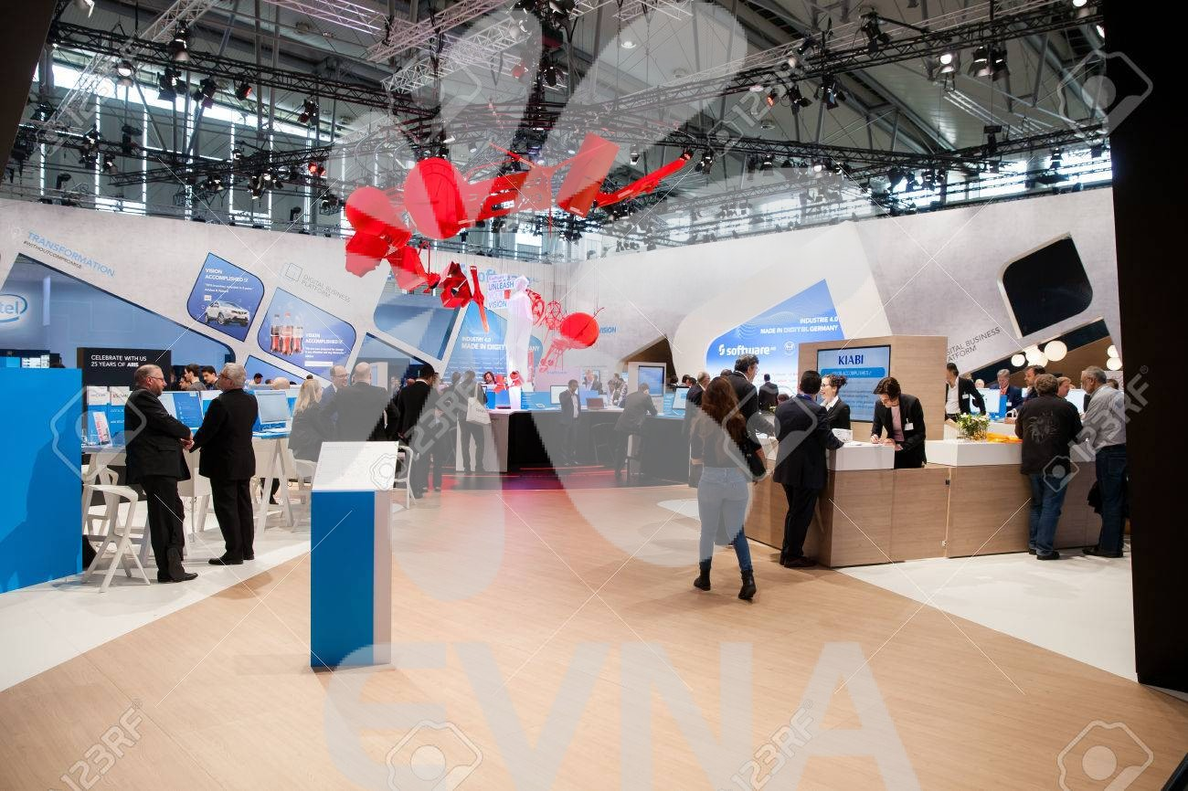 Software AG stand on exhibition fair Cebit 2017 in Hannover Messe, Germany